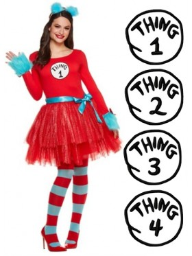 Ladies Dr Seuss Cat In The Hat Thing Costume set