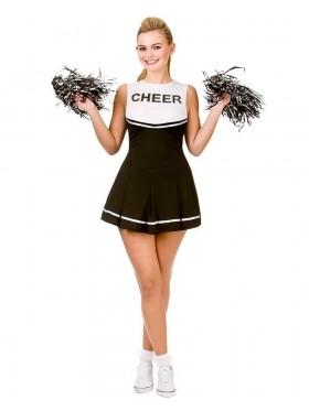Black Ladies Cheerleader School Girl Uniform Fancy Dress Costume