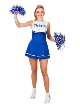Blue Ladies Cheerleader School Girl Uniform Fancy Dress Costume