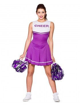 Purple Ladies Cheerleader School Girl Uniform Fancy Dress Costume