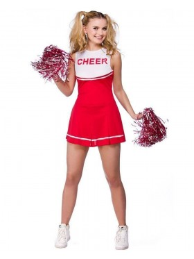 Red Ladies Cheerleader School Girl Uniform Fancy Dress Costume