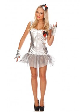 Ladies Tin Man Costume Wizard of Oz Storybook Halloween Fairytale Party Fancy Dress Outfit