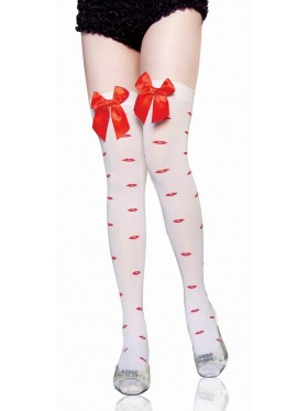 White Bows Lip Print Thigh High Stockings