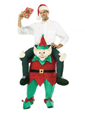Xmas Elf Santa Helper Shoulder Carry On Piggy Back Ride On Me Fancy Dress Adult Party Costume Mens Outfit