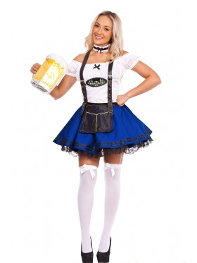 Blue Oktoberfest Beer Maid Costume