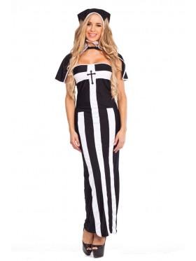 Ladies Deluxe Erotic Nun Fancy Dress Costume