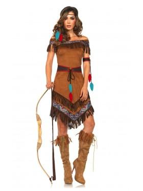 Ladies Noble Warrior Pocahontas Native American Indian Wild West Halloween Fancy Dress Costume