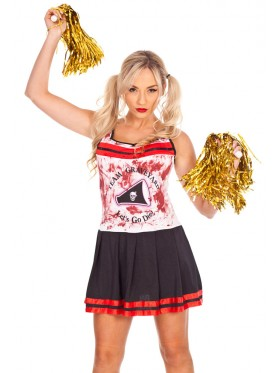 Ladies Halloween Zombie Bloody Cheerleader Costume