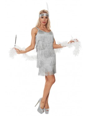 Ladies 20s 1920s Charleston Flapper Grey Chicago Fancy Dress Costume Cigarette Holder