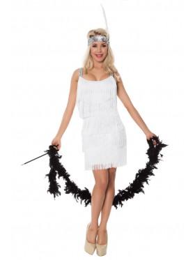 Ladies 20s 1920s Charleston Flapper White Chicago Fancy Dress Costume Cigarette Holder