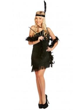 Ladies 1920s Flapper Fancy Dress Costume Black Color