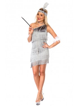 Ladies 1920s Flapper Grey Fancy Dress Costume