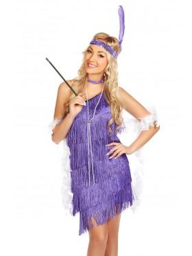 Ladies 1920s Flapper Fancy Dress Costume purple