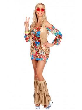 Ladies 1970s Hippie Hottie Ho Fancy Dress Costume