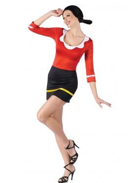 Women Olive Oyl Popeye Halloween Fancy Dress Costume