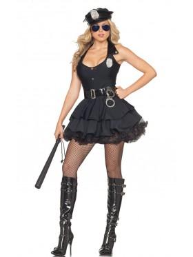 Ladies Black Police Uniform Fancy Dress Costume