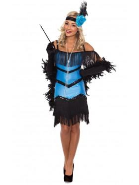 Ladies 20s 1920s Charleston Flapper Chicago Fancy Dress Costume Black Boa