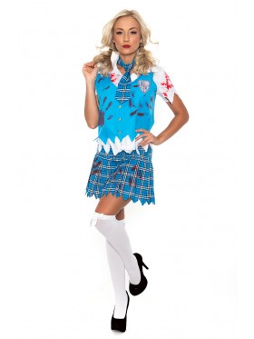 Ladies Zombie Bloody School Girl Costume