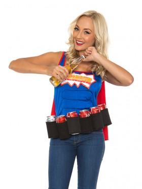 Adult Oktoberfest Super Six-Pack Beer Girl Hero Superhero Halloween Fancy Dress Costume