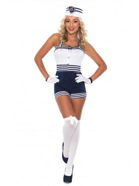 Navy Sailor Girl Uniform Ladies Rockabilly Pin Up Fancy Dress Costume & Hat