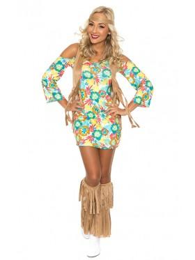 Ladies 60s 70s Retro Hippie Go Go Girl Disco Dancer Groovy Costume Hens Party Fancy Dress