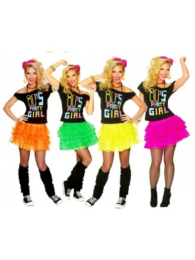 Ladies 80s Party Girl T-shirt Skirt Costume full set