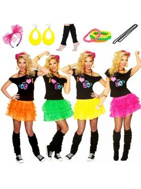 Ladies I Love the 80s T-shirt Skirt Costume Full Set