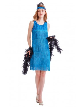 Ladies 1920s Roaring 20s Flapper Costume Blue