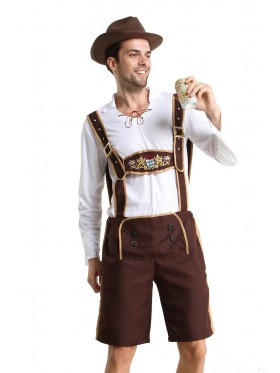 Mens Lederhosen embroidery Costume NO HAT