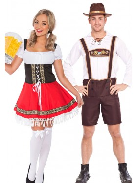 Couple Oktoberfest Dirndl Beer German Lederhosen Costume