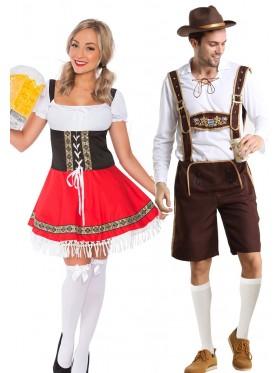 Couple Oktoberfest Dirndl Beer German Lederhosen Costume