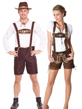 Couples Oktoberfest Maid Bavarian Lederhosen Costume