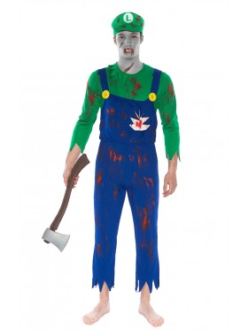 Mens Super Mario Luigi Zombie Bloody Halloween Horror Fancy Dress Costume + hat