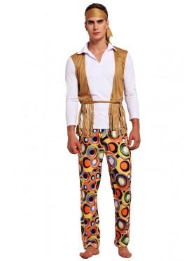 Mens 60s 70s 1960s Hippie Groovy Costume Halloween Retro Hippy Disco Fancy Dress
