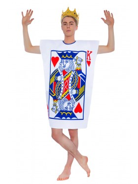 Mens King Of Hearts Alice Poker Playing Card Halloween Fancy Dress Adult Costume In Wonderland
