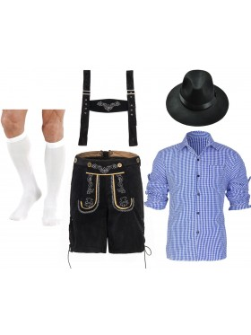 Mens Lederhosen Oktoberfest German Fancy Dress Costume
