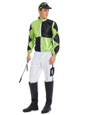 Full Set Green Black Jockey Horse Racing Rider Mens Uniform Fancy Dress Costume Outfit Hat