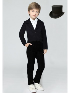 Black Kids Tailcoat Magician With Hat