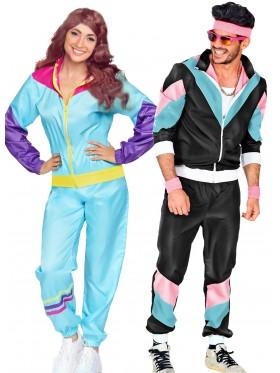 Couple 80s Shell Suit Black Blue Tracksuit Costume