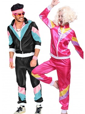 Couple 80s Shell Suit Black Pink Tracksuit Costume