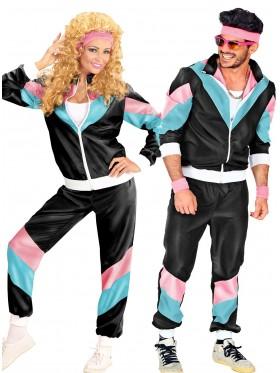 Couple 80s Shell Suit Black Tracksuit Costume