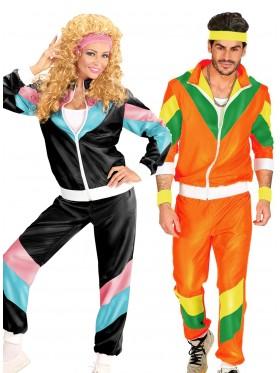 Couple 80s Shell Suit Black Orange Tracksuit Costume