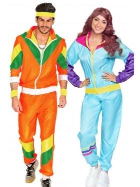 Couple 80s Shell Suit Blue Orange Tracksuit Costume