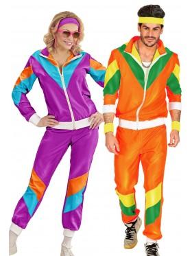Couple 80s Shell Suit Purple Orange Tracksuit Costume