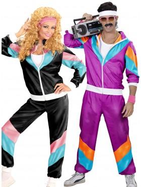 Couple 80s Shell Suit Purple Black Tracksuit Costume
