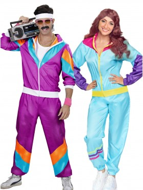 Couple 80s Shell Suit Blue Purple Tracksuit Costume