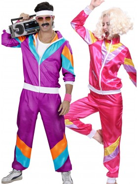 Couple 80s Shell Suit Purple Pink Tracksuit Costume
