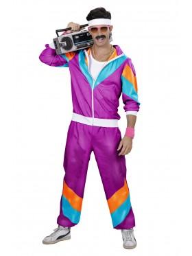 Purple Mens 80s Tracksuit Suit Costume