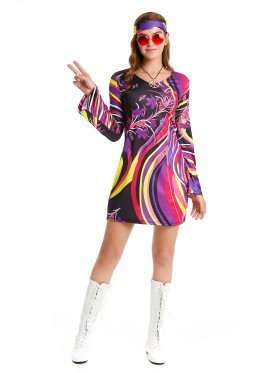 60s 70s Abba Retro Hippie Girl Disco Dancing Costume