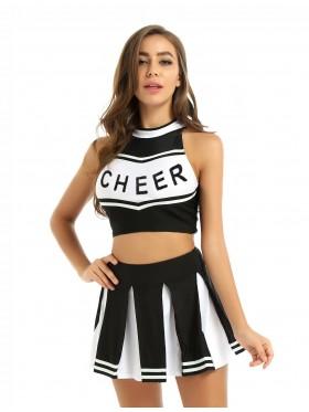 Black Cheerleader Girl Uniform Costume